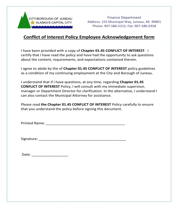 conflict of interest policy employee acknowledgement form