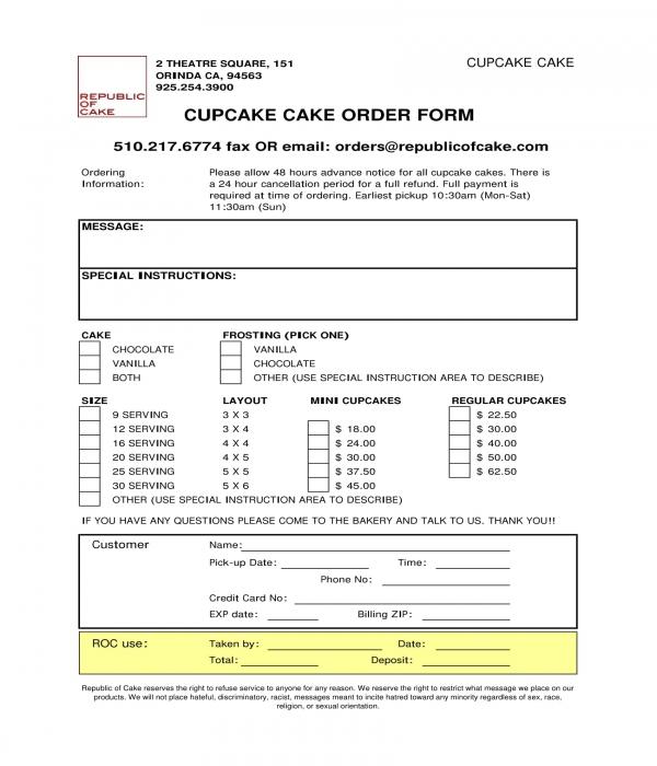 cupcake cake order form