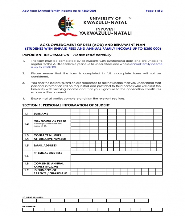 debt acknowledgment and repayment plan form