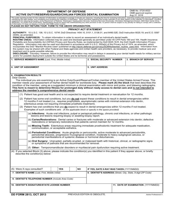 defense officer dental examination form