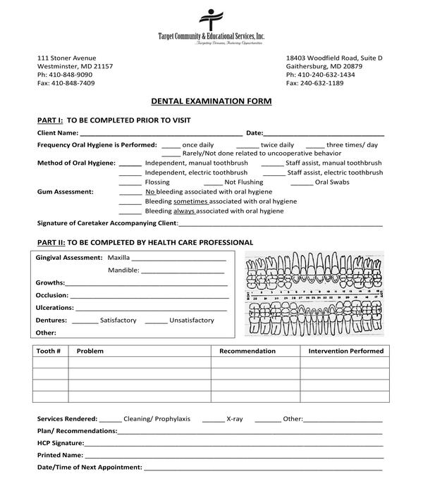 dental examination form sample