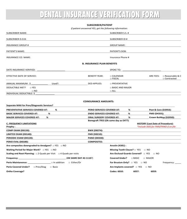 dental insurance verification form sample
