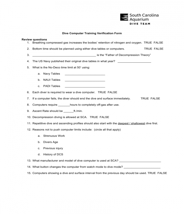 dive computer training verification form