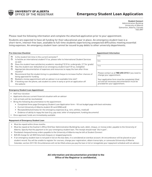 emergency student loan application form