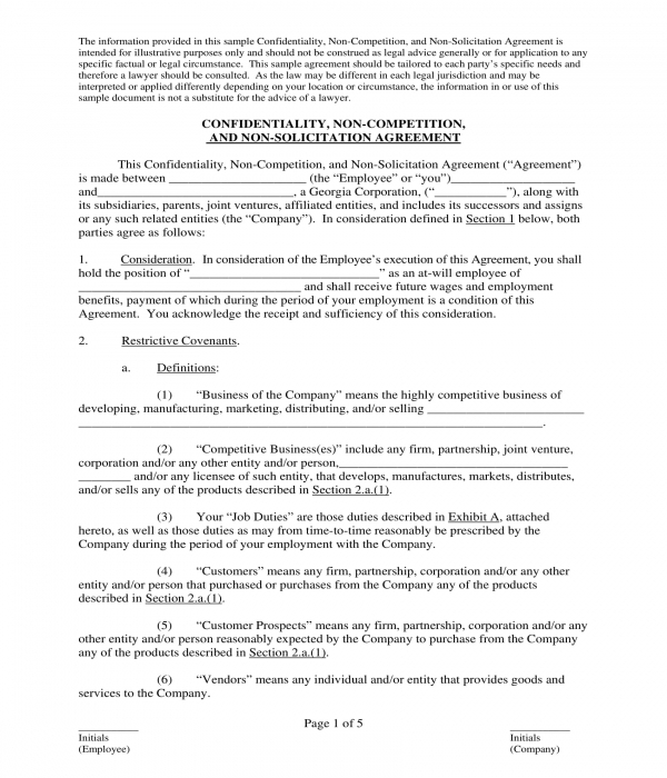 employee confidentiality and non compete agreement form