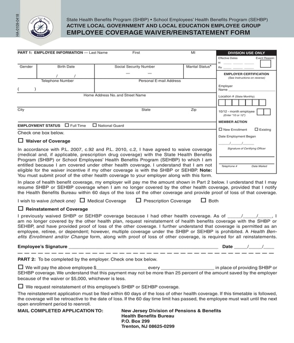 employee coverage waiver form