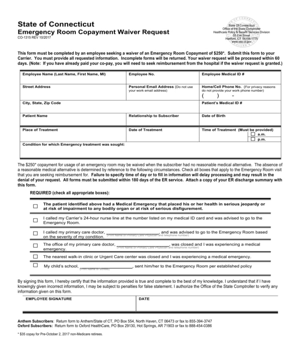 employee emergency room copayment waiver request form