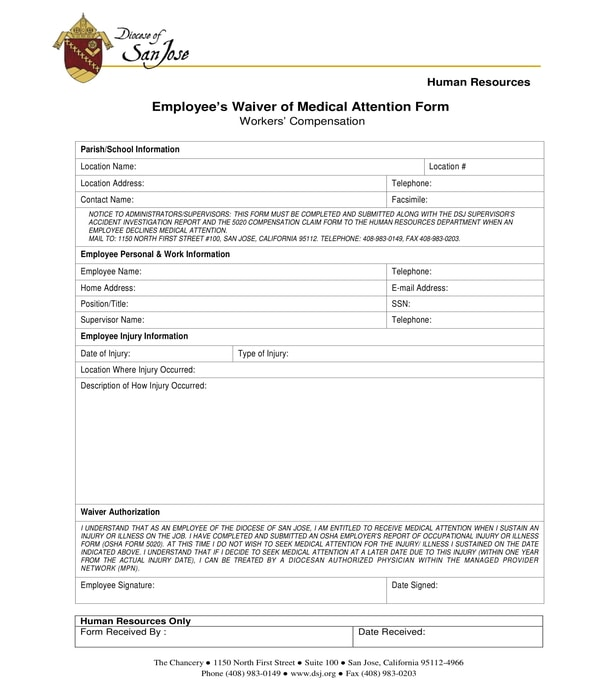employee medical attention waiver form