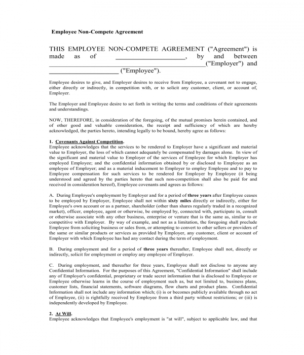 employee non compete agreement form sample