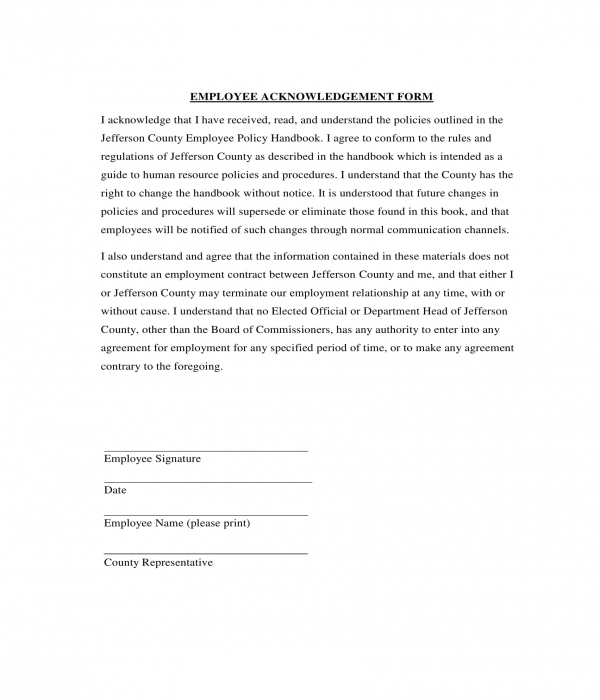 employee policy acknowledgment form