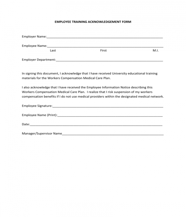 employee training acknowledgment form