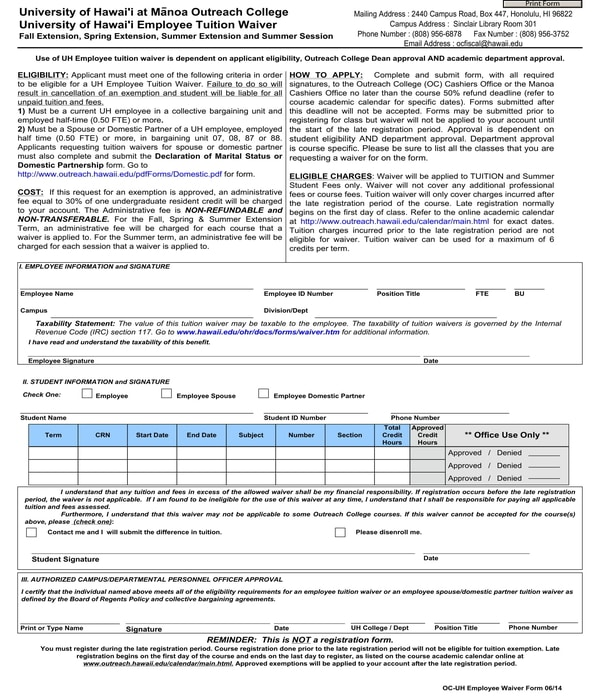 employee tuition waiver form