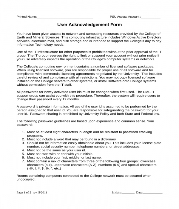 end user acknowledgment form sample