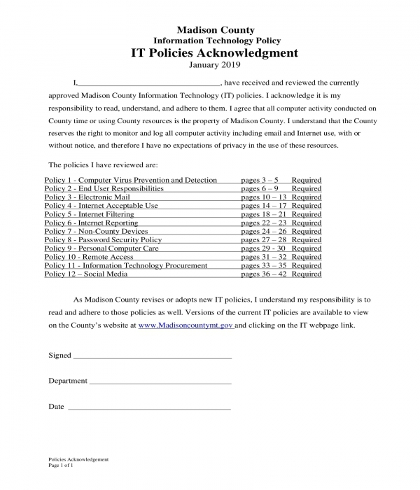 end user it policy acknowledgment form
