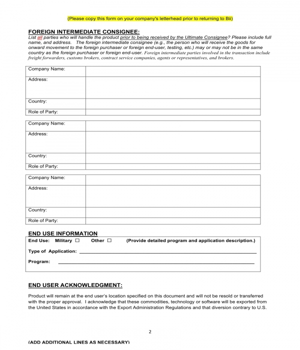 end user statement certification acknowledgment form