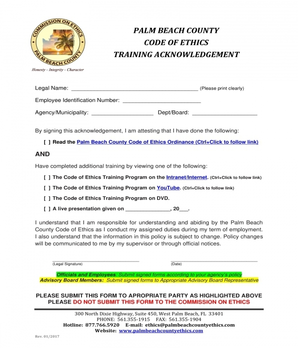 ethics training acknowledgment form