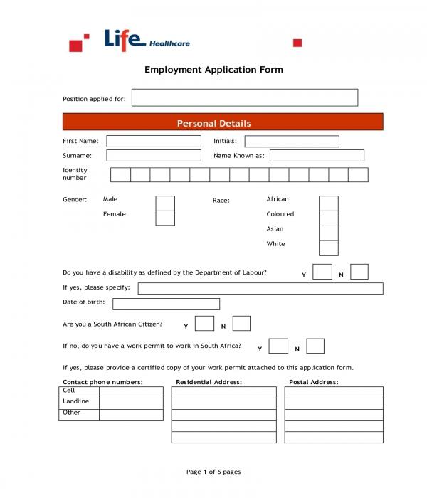 external employment application form