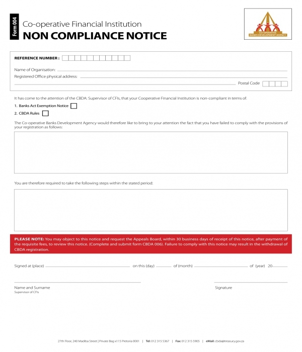 financial institution non compliance notice form