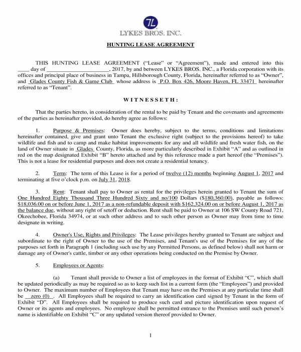 fish and game club hunting lease agreement form