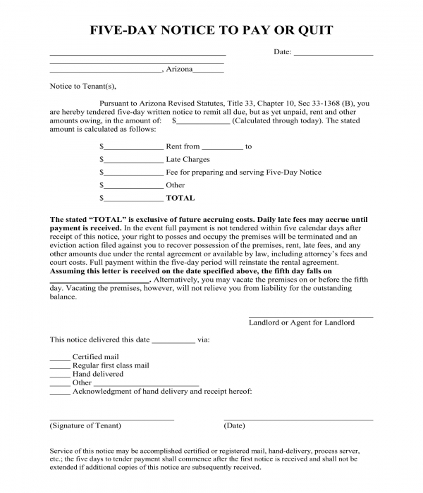 five day notice for non payment of rent form
