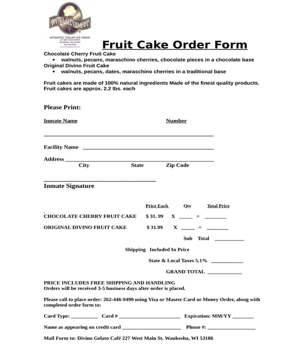 fruit cake order form