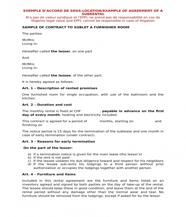 furnished room sublet contract agreement form