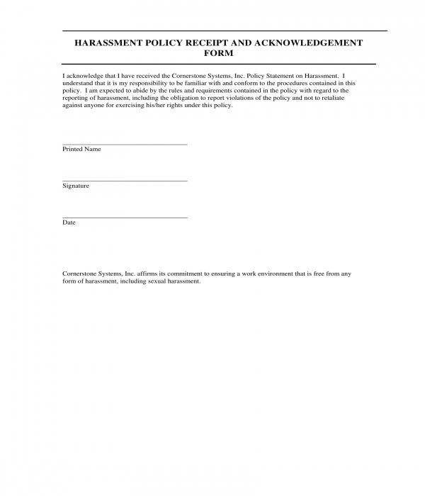 harassment policy acknowledgment form