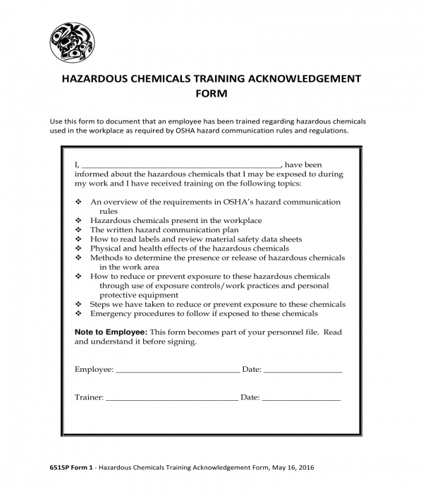 hazardous chemicals training acknowledgment form