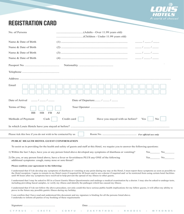 hotel guest confirmation registration form