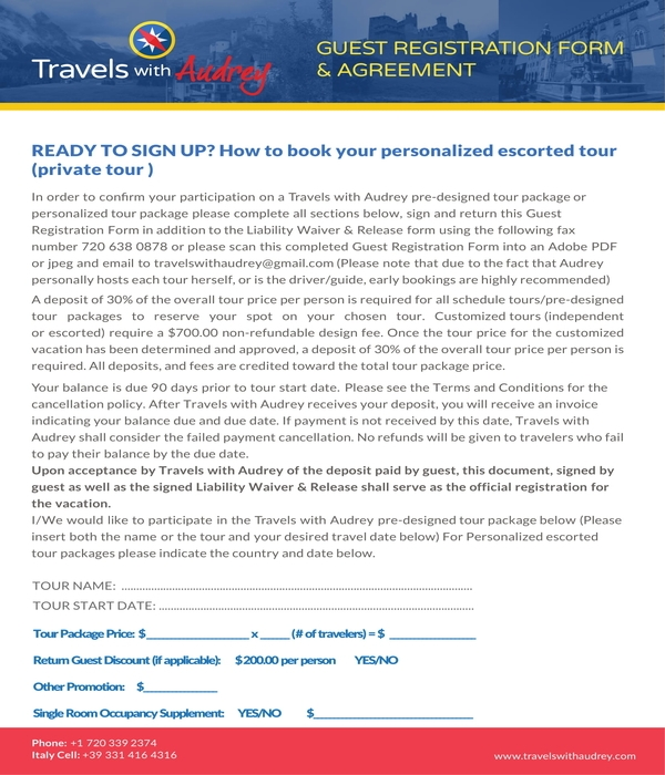 hotel guest registration agreement form