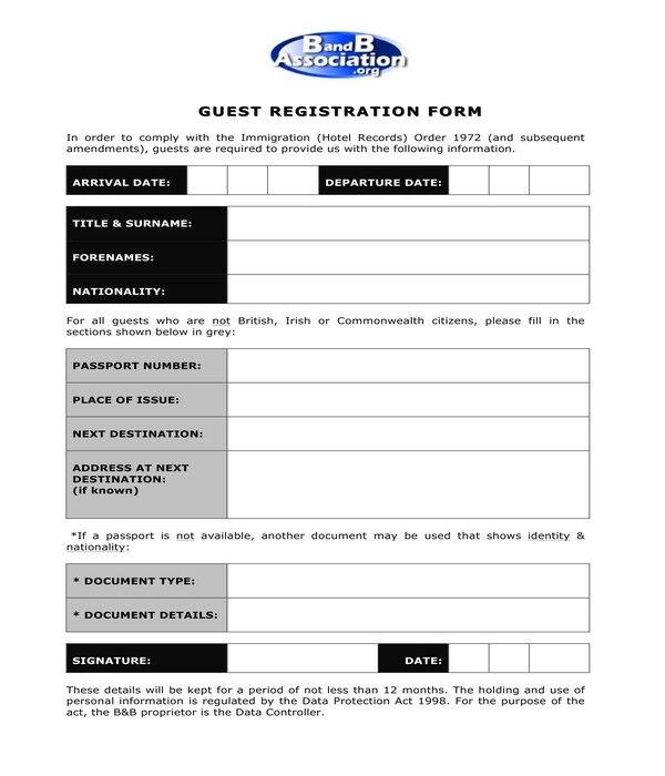 free 7 hotel guest registration forms in pdf ms word. Black Bedroom Furniture Sets. Home Design Ideas