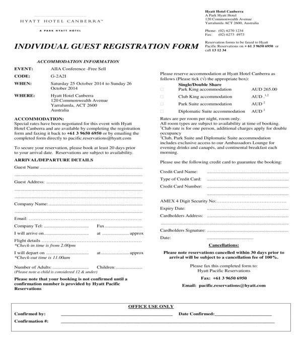 hotel individual guest registration form