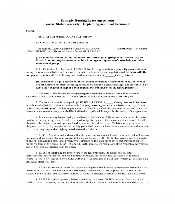 5 Hunting Lease Agreement Forms Pdf Doc