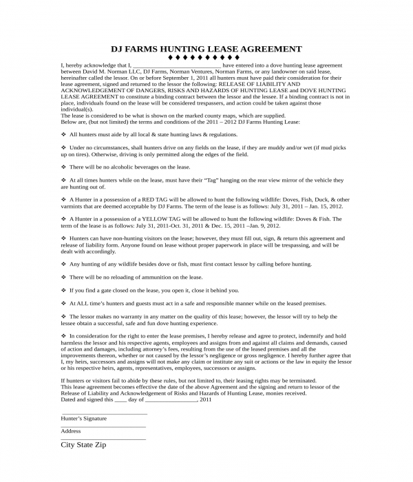 hunting lease agreement form in doc