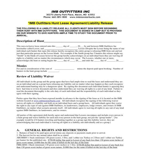 hunting lease agreement and liability release form