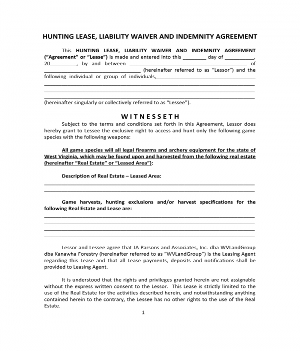 hunting lease liability waiver and indemnity agreement form