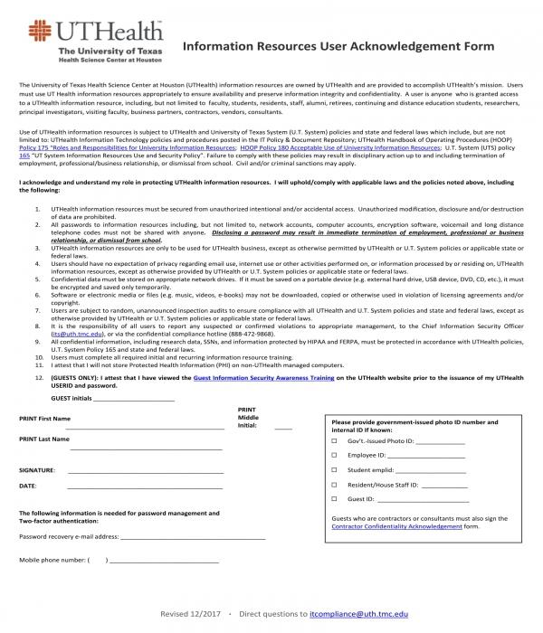 information resources user acknowledgement form