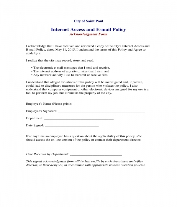 internet access and e mail policy acknowledgment form