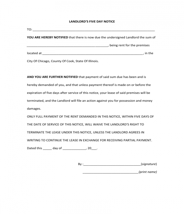 landlords five day notice form