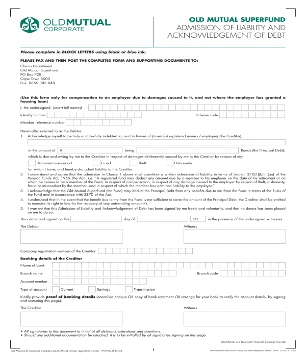 liability admission and debt acknowledgment form