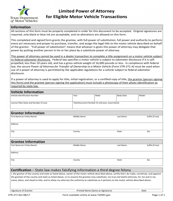 limited power of attorney for eligible motor vehicle transactions form