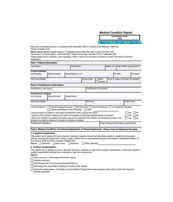 medical condition report form