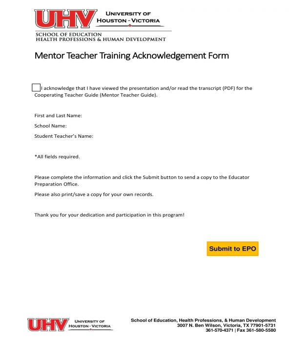 mentor teacher training acknowledgement form