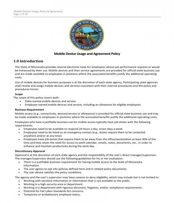 mobile end user usage agreement acknowledgment form