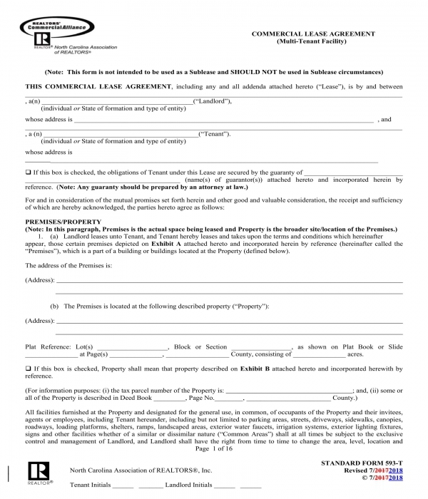multi tenant facility commercial lease agreement form