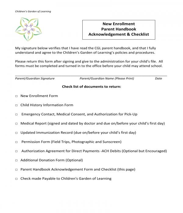 new enrollment parent handbook acknowledgment form
