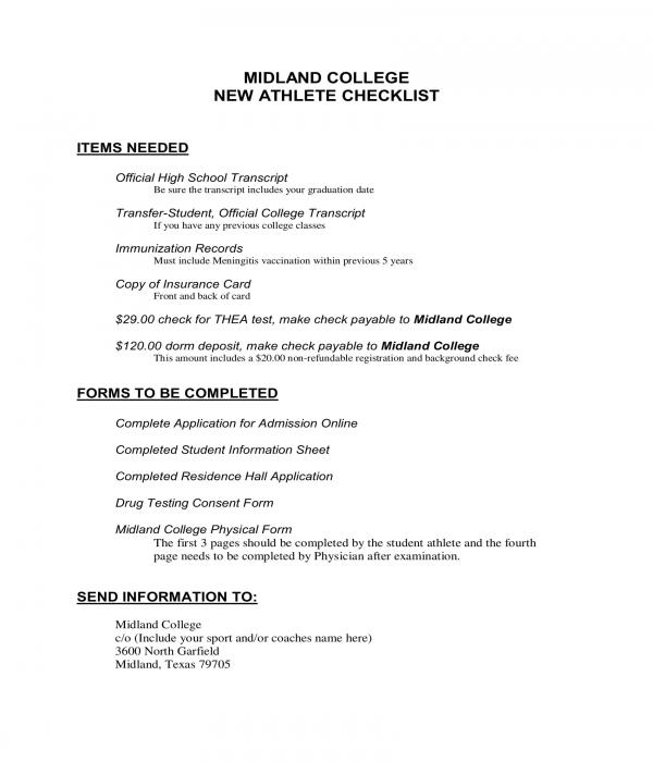 new student athlete checklist form