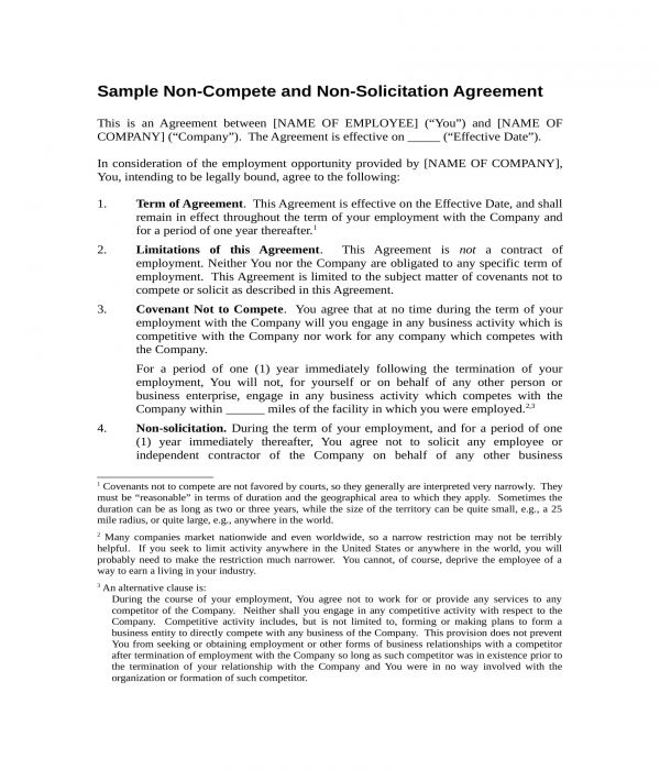 FREE 3+ Employee Non-Compete Agreement Forms In PDF