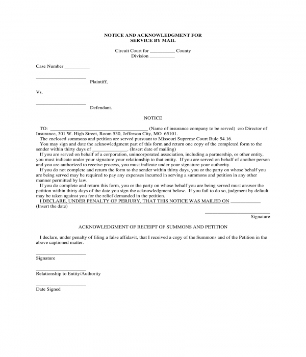 notice and acknowledgment for service by mail form