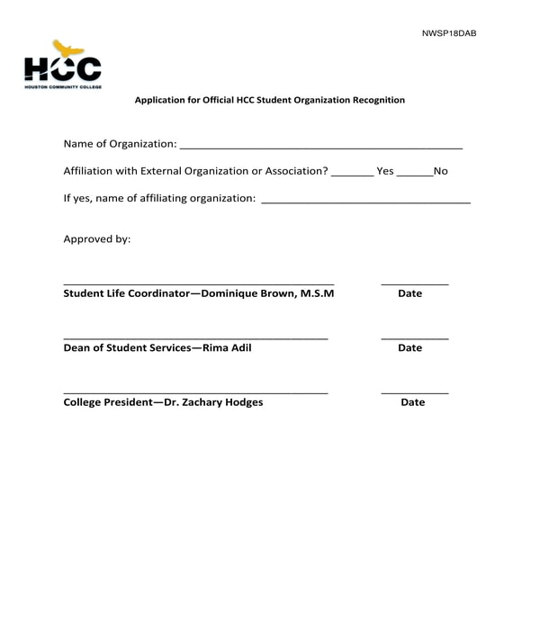 official student organization recognition application form